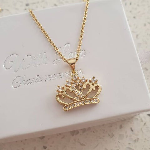 SS28-CB0120799 - Gold Stainless Steel CZ Crown Necklace