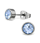 C147-C29107 - Light Blue Sapphire Crystal Stainless Steel Studs 6mm.