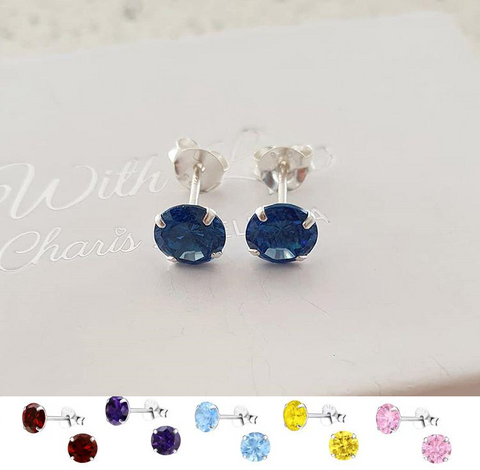 C321-C33206 - 925 Sterling Silver Birthstone Jan-Dec CZ Earrings 6mm