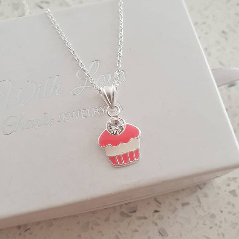 C955-C24346 - 925 Sterling Silver Children's Crystal Cupcake Necklace