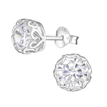 C690-C15506 - 925 Sterling Silver CZ Ear Stud Earrings 7mm