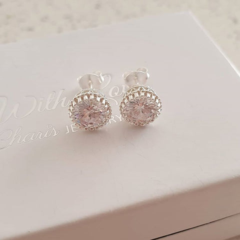 C1226-C39150 - 925 Sterling Silver CZ Ear Stud Earrings 8mm