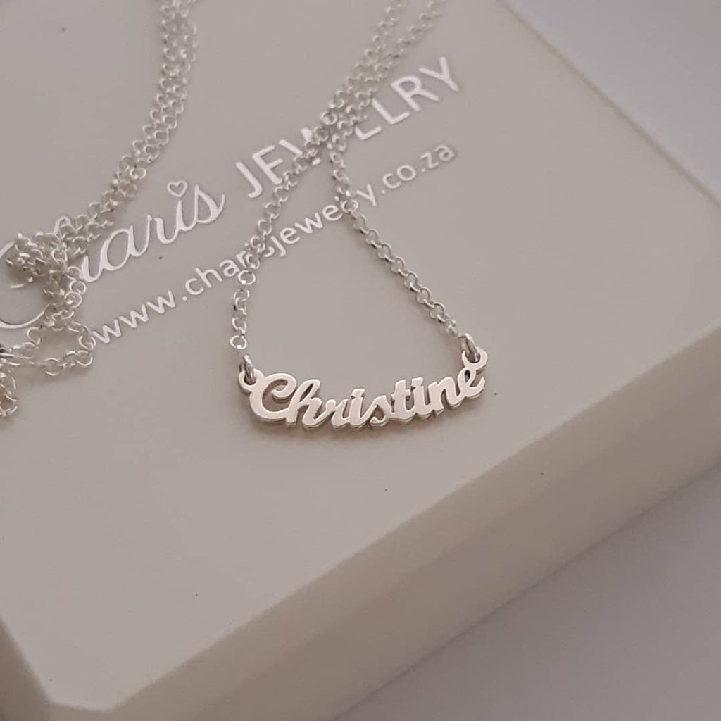 b4b7a6164 N519 - 925 Sterling Silver Personalized Curved Name Necklace personalized  name necklaces online store in South Africa