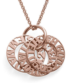 N139 - Personalized 925 Sterling Silver Mother Necklace in 18K Rose Gold Plating.