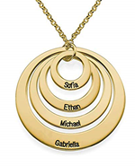 N66 - Four Open Circles Necklace with Engraving in Gold Plated Sterling Silver.