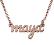 N16 - Script Name Necklace with 18K Rose Gold Plating