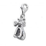 B147 - C5527 - 925 Sterling Silver Dog with Bone Charm Dangle
