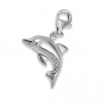 C160-C5533 - 925 Sterling Silver Dolphin with stones Charm Dangle