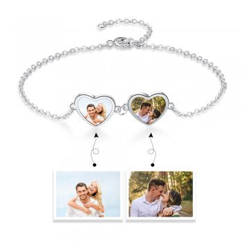 CBA103736 - Personalized Photo Heart Bracelet, Stainless Steel
