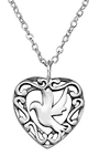 C52-C25329 - Sterling Silver Dove Bird Heart Necklace