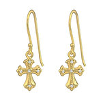 C826-C37264 - Gold Plated Sterling Silver CZ Cross Earrings 8x10mm