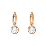 C1233-C37124 - Rose Gold 925 Sterling Silver CZ Dangle Hoop Earrings