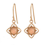 C1234-C37972 - Rose Gold 925 Sterling Silver Rose Quartz Dangle Earrings
