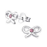 C26233 - Sterling Silver Child's Bow Ear Studs with Light Rose Crystal.