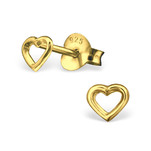 C868-C29102 - Gold Plated Sterling Silver Heart Ear Studs 4mm