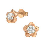 C1219-C36796 - Rose Gold 925 Sterling Silver CZ Flower Earrings