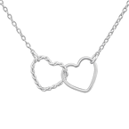 C834-C24887 - 925 Sterling Silver Double Heart Necklace