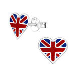 C1329-C13274 - 925 Sterling Silver England British  Heart Earrings 9x8mm