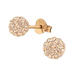 C870-C37113 - Rose Gold over Sterling Silver Crystal Earrings 6mm