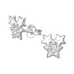 C873-C33744 - 925 Sterling Silver Crystal Star Earrings 8mm