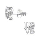 C863-C32062 - 925 Sterling Silver Love Ear Stud Earrings 6x7mm