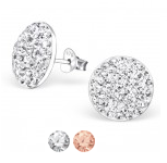 E12-C23044 - 925 Sterling Silver Crystal Earings 12mm by 12mm