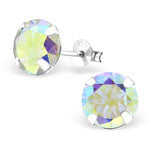 E16-C9528 - Sterling Silver AB Crystal CZ Stud Earrings 9mm