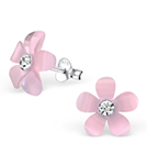 C331-C27533 - 925 Sterling Silver Child's Pink Flower Ear Studs with Crystal
