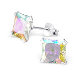 Sterling Silver AB Crystal Stud Earrings 7mm
