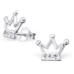 C325-C20582 - Sterling Silver Crown Ear Studs with Crystals