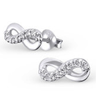 C662-C18880 - 925 Sterling Silver Small Infinity CZ Earrings