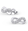 C662-C18880 - 925 Sterling Silver Small Infinity CZ Earrings 10x4mm