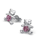C874-C6281 - 925 Sterling Silver Crystal Teddy Bear Earings 8x9mm