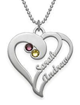 N62 - Two Hearts Forever One Sterling Silver Necklace with Birthstones.