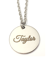 EJ12 - Personalized Engraved Disc Name Necklace, Stainless Steel (Ready in 5 days!)