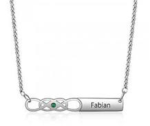 stainless steel engraved name and birthstone infinity necklace