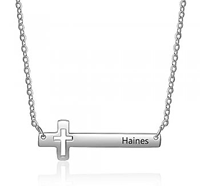 CNE103252 - Personalized Cross Necklace, Stainless Steel