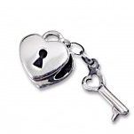 C49-C10604 - 925 Sterling Silver Heart Lock & Key European Charm Bead