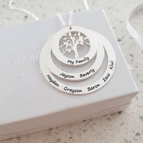 N61 - Personalized Family Tree Necklace, 925 Sterling Silver