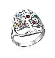 N300 - 925 Sterling Silver Personalized Family Tree Birthstones Ring
