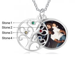 CNE105555 - Personalized Family Tree Photo Necklace, Stainless Steel