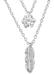 C414-C33003 - 925 Sterling Silver CZ  Feather Double Layer Necklace