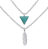 B53-C28588 - 925 Sterling Silver Turquoise Triangle Feather Necklace