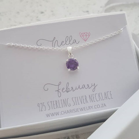 C33212 - 925 Sterling Silver February Birthstone Necklace,  Personalized Card