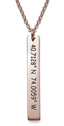 N137 - Vertical Bar Sterling Silver Necklace and 18K Rose Gold plating with Coordinates