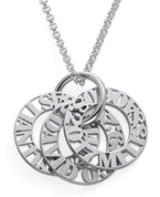 N141 - Personalized Sterling Silver Mother Necklace - Up to 5 Discs