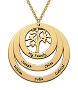 N64 - Gold Plated Sterling Silver Family Circle Necklace with Hanging Family Tree