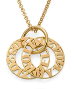 N142 - Personalized Sterling Silver Mother Necklace in 18K Gold Plating - Up to 5 Discs.