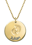 N145 - Gold Plated Personalized Baby Feet Necklace