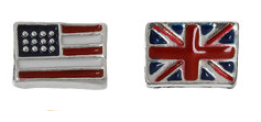 FLC46 - Flag Floating Locket Charm, US or UK Flag